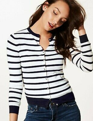 M&S Women White Navy Blue Striped Viscose Cardigan Jumper Sweater Top 6 - 24