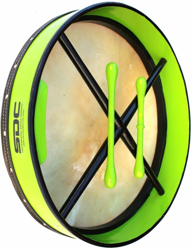 """BODHRAN  GREEN 18"""" WITH BAG AND 2 BEATERS LOWEST PRICE FREE SHIPPING"""