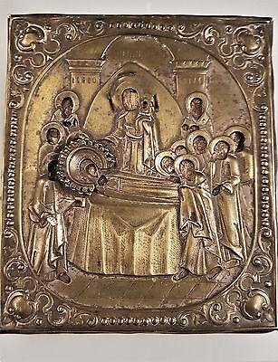 Alte Original  Ikone Gottesmutter der Entschlafung Mariens, 19 jh. Selten