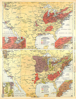 Big Size Industrial Map Card Atlas 1950: United States of America USA
