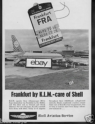 Klm Royal Dutch Airlines 1964 Dc 8 Jet At Frankfurt Airport Shell Oil Company Ad