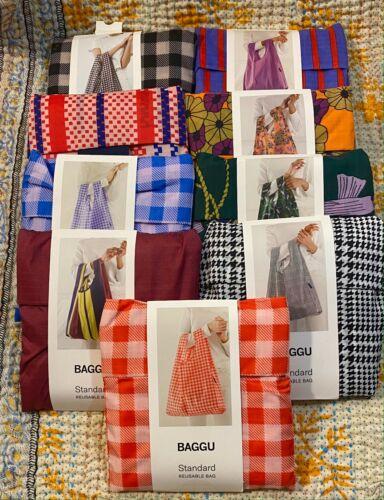 BAGGU Recycled Printed Striped Check Nylon Eco Standard Medium Purse Tote Bag