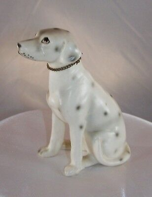 Dalmatian Dog Ceramic Sitting Figurine Japan Chain Collar on Neck