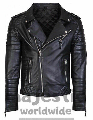 MENS KAY MICHAEL GENUINE LEATHER JACKET BLACK DIAMOND QUILTED SLIM FIT - DQ