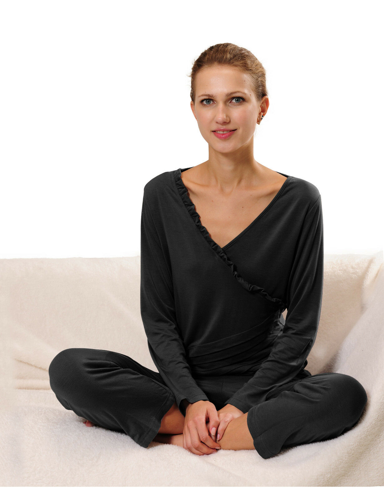 Damen Schlafanzug Fitness Yoga Pyjama Set Hausanzug mit Rüschen Größen 36-50