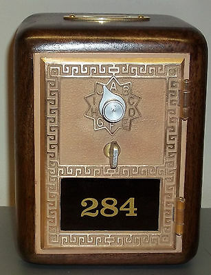 Walnut Post Office Box Door Bank With Brass Slot