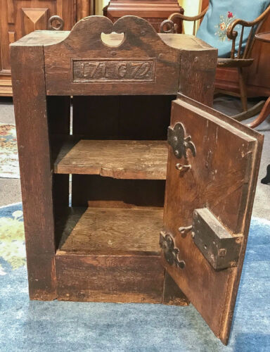 Antique Oak Wall Cupboard, Dated 1779 & Initialed Original Hardware continental