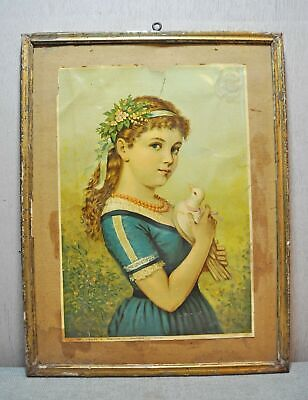 Original Vintage English Litho Print on Paper Subject European Lady With Pigeon