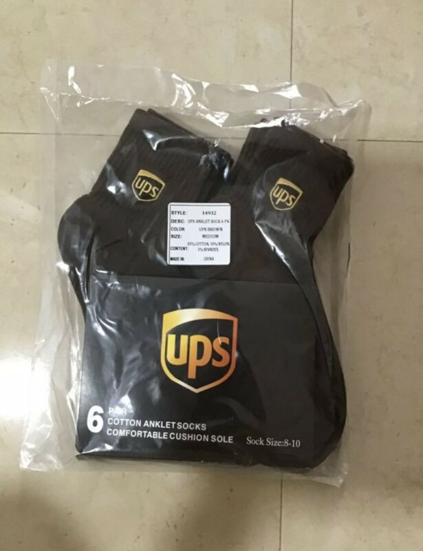 Ups Socks 6 Pairs Anklet Length Brand New Size L 11-13