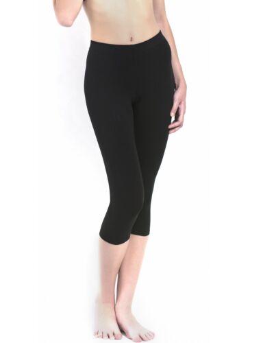 Uniconf Damen Sporthose Radlerhose 3/4 lang schwarz Stretch Baumwolle