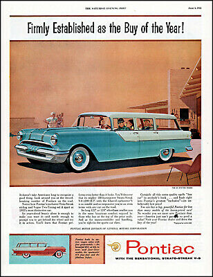 1955 Pontiac 870 station wagon family cook-out vintage art print ad adL17