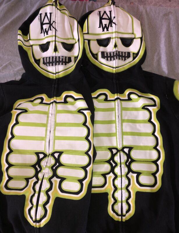 Lot of 2 Youth M Tony Hawk Skeleton Zipper Hoodie Sweatshirts Make Offer!!!
