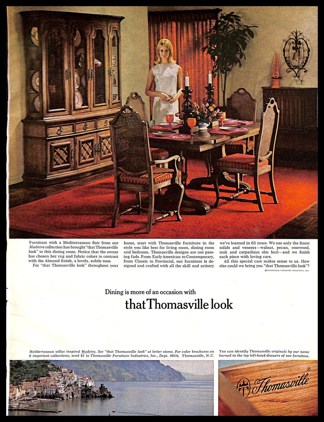 1967 Thomasville Furniture Vintage PRINT AD Mediterranean Style Home Decor 1960s