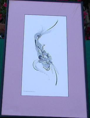 1970 Abstract Bird drawing Print Christiana Maintanis Bleecker Warwick RI