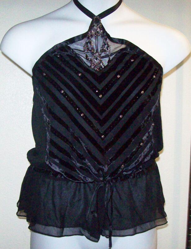 NWT Sz L ECI New York Black Velvet Diagonal Striped Jewelled Neckline Halter!