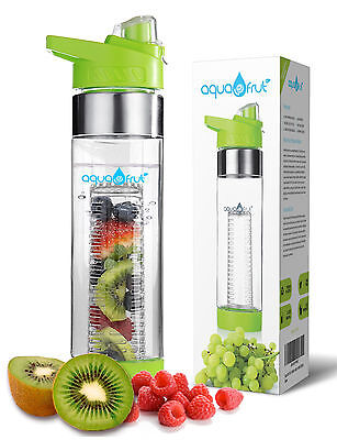 Aquafrut Bottom Loading Fruit Infuser Water Bottle (24oz, Green) USA Seller!