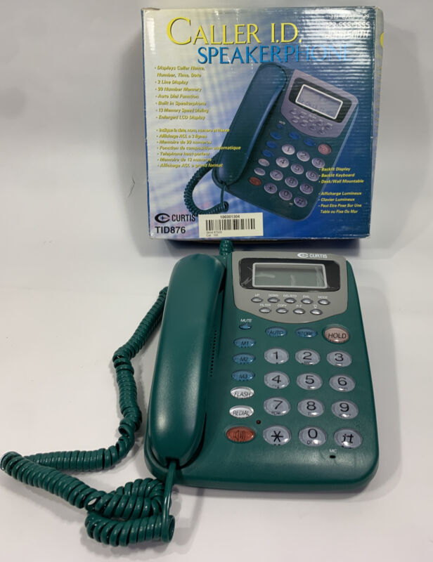Curtis Caller ID Corded Big Button Telephone Speakerphone -Green NEW