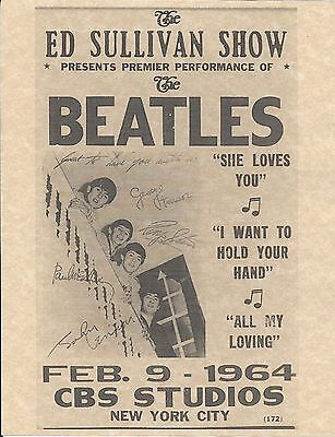 The Beatles Ed Sullivan Show Feb 9 1964 CBS Studios > Concert Poster > Reprint