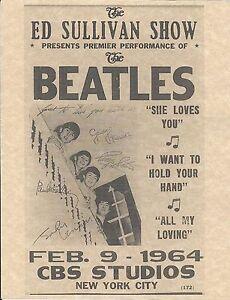 The Beatles Ed Sullivan Show Feb 9 1964 CBS Studios > Concert Poster > Replica