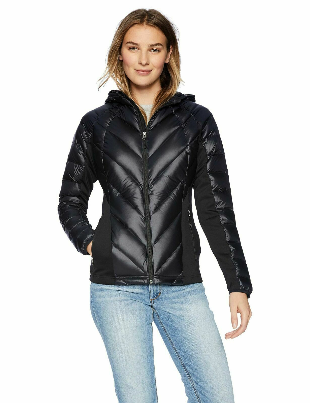 Spyder Women's Syrround DOWN Hybrid Hoody Jacket – Black, Medium Clothing, Shoes & Accessories