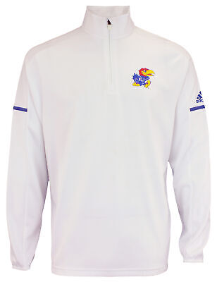 adidas NCAA Men's Kansas Jayhawks  Team Logo 1/4 Zip Pullover, -