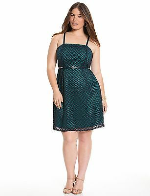 Lane Bryant Plus 24 3X Teal Navy Blue Geo Lace Tube A Line Dress With Straps New