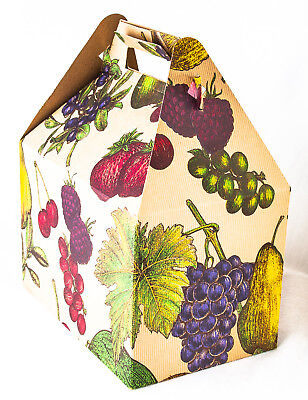 Gift Boxes Gable Handle Lunch Box Style Kraft Tag-board Vintage Fruit Etching - Kraft Gable Boxes