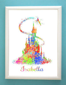 Personlised Art Print Fairy Castle Tinkerbell Baby Girl Bedroom wall Picture.