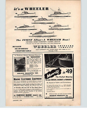 1949 PAPER AD Wheeler Shipyard Co Cruisers Yachts Motor Boat Sport Fisherman