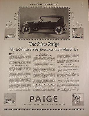 "Original Print Ad 1924, Paige Automobile Car, 11""x14"" VG+"