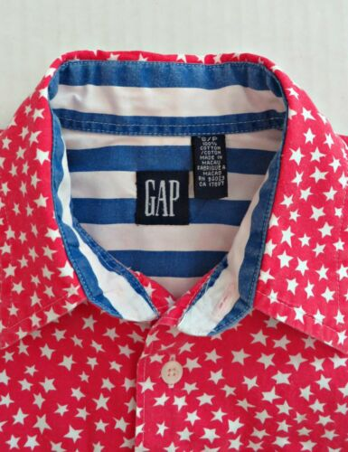 Vtg 80s GAP Boy Stars Patriotic American Flag Stripe Button Front Red Shirt Sz S