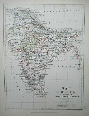 India Alison's Battle Map Showing Campaigns from 1799 to 1806 A K Johnston 1875
