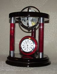 Mahogany Desk Clock With Crystal Globe Piano Finish Silver Accents office glass