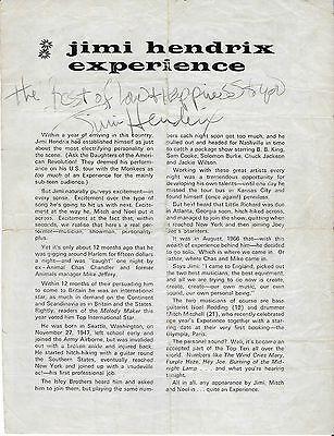 JIMI HENDRIX AUTOGRAPH /SIGNED PROGRAMME PAGE NOTTINGHAM UK DEC 3RD 1967