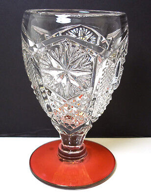 """Imperial glass Star & File wine cranberry stain base 4"""" tall 2.5 oz"""