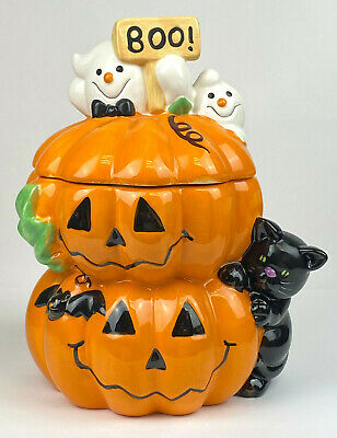 "Retired David's Cookies Pumpkin Cat & Ghost Cookie Jar Halloween Mint Cond ""BOO"""