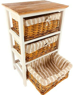 Wooden Cabinet With 3 Wicker Baskets Furniture Storage Decor Shabby Chic 62cm  Dining Room Wicker Cabinet