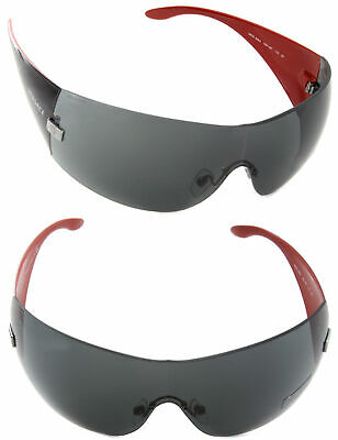 Authentic VERSACE Shield Sunglasses VE2054 100187 Black / Gray Lens