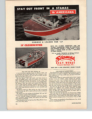 1957 Paper Ad Stamas Boat Works 16 Americana 19 Clearwater Motorboat Motor