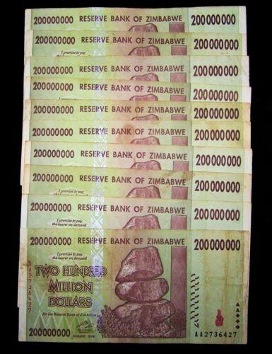 10 Zimbabwe banknotes-10 x 200 Million dollars-2008/AA currency