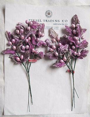 Lush Vintage Antique Lavender Velvet Millinery Hat Flower UNUSED  Leaves 2 pcs