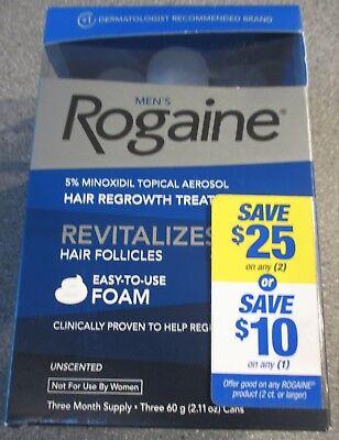 Men's Rogaine Foam Hair Regrowth Treatment Three (3) Month Supply EXP 01/2020