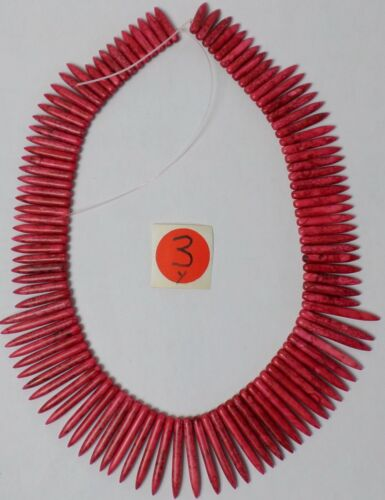 "19"" Strand RED Howlite Graduated Stick Needle Spike Beads 20-37mm Old Stock"