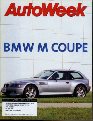 AutoWeek Magazine September 14, 1998 BMW M Coupe, SLP Pontiac Grand Prix