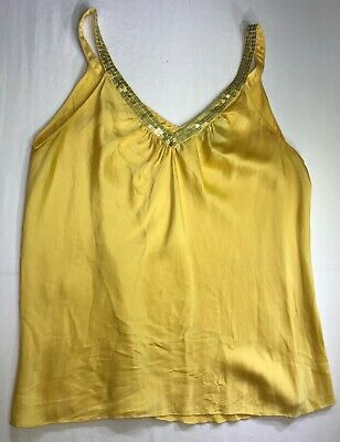 Yellow Sequin Top (Womens Express Design Studio Yellow Sequined Tank Top Silk Blouse Size S)