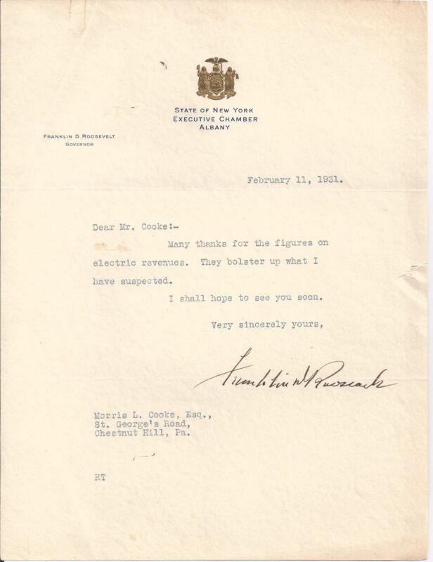 FRANKLIN D. ROOSEVELT FDR SIGNED 1931 LETTER PSA/DNA CERTIFIED AUTHENTIC RARE!