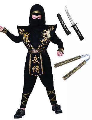 Boys Childrens Black Gold Ninja Soldier Halloween Toys Fancy Dress Costume 4-12 - Childrens Ninja Costumes