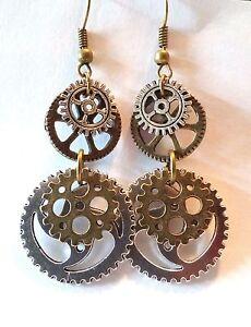 Ohrringe Hänger Zahnräder Steampunk Gothic Bronze Silber 60 x 23 mm Modeschmuck