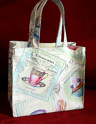 Handmade Cotton/Vinyl small tote Bag Lunch, craft, Childrens  - Paris cakes ()