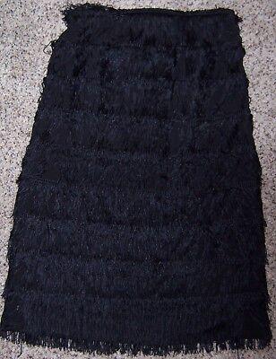 EXPRESS Black Long Tiered Flapper Style Tassel Fringe Straight Skirt Size 2 - Black Flapper Skirt